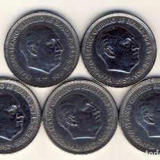 Monedas Franco: CINCO MONEDAS DE 50 PESETAS DE FRANCO.- 1957 *58,*59, *60, *67 Y *71.- EBC.-. Lote 217361515