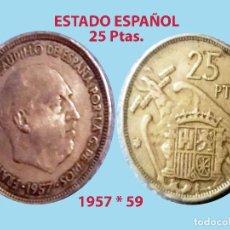 Monedas Franco: FRANCO 5 PESETAS NIQUEL DEL ESTADO ESPAÑOL DE 1957*59 MBC MUY BUENA CONSERVACION. Lote 217679786