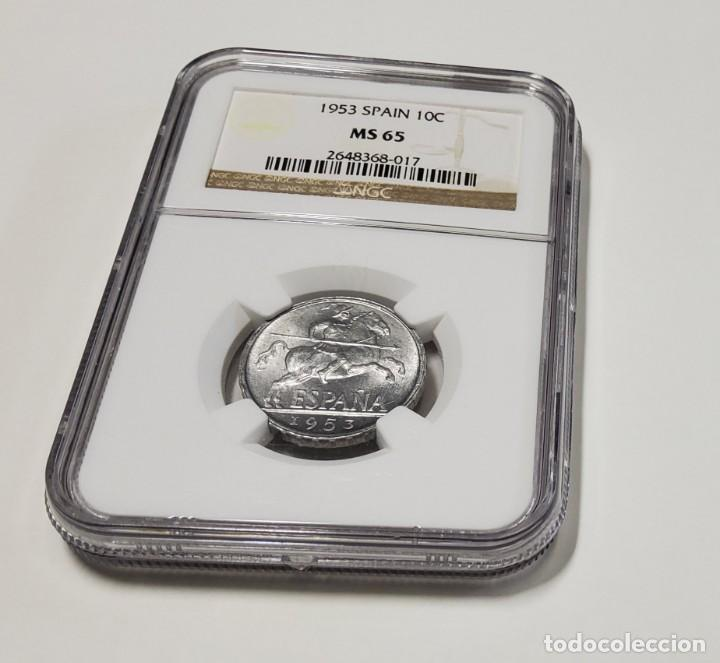 10 CÉNTIMOS DE ESPAÑA DEL AÑO 1953 !GARANTIA NGC (Numismática - España Modernas y Contemporáneas - Estado Español)