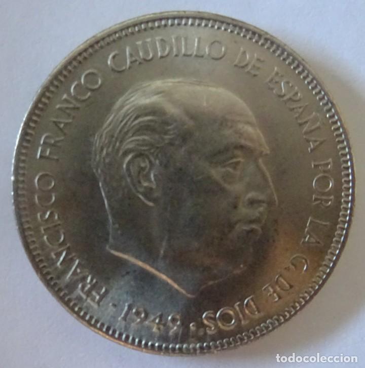 Monedas Franco: MONEDA 5 PESETAS AÑO 1949 - Foto 2 - 218002167