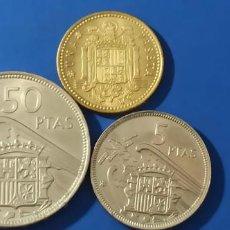 Monedas Franco: TRES MONEDAS CARTERA FRANCO ESTRELLA 71- 50,5 Y 1 PESETA SIN CIRCULAR. Lote 219478710