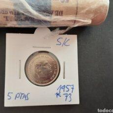 Monedas Franco: MONEDA 5 PESETAS 1957 ESTRELLA 73 ESTADO ESPAÑOL S/C SACADA DE CARTUCHO ESPAÑA. Lote 219666528