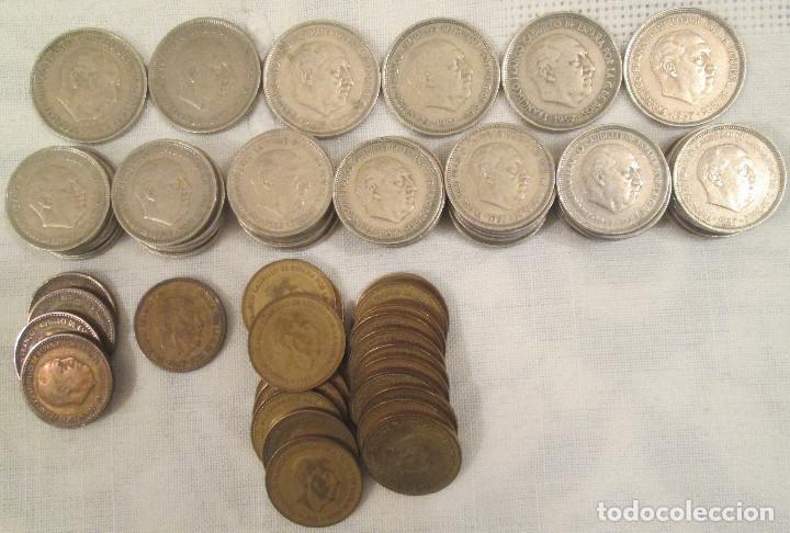 LOTE DE 76 MONEDAS, PESETAS, DE LA ÉPOCA DE FRANCO DE 1953, 1957, 1963 Y 1966. (Numismática - España Modernas y Contemporáneas - Estado Español)