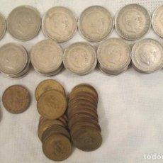 Monedas Franco: LOTE DE 76 MONEDAS, PESETAS, DE LA ÉPOCA DE FRANCO DE 1953, 1957, 1963 Y 1966.. Lote 220115003