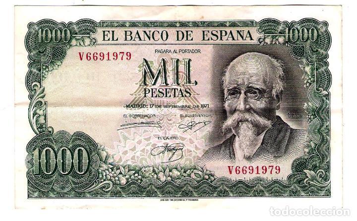 BILLETE DE MIL PESETAS - SEPTIEMBRE DE 1971 - JOSÉ ECHEGARAY (Numismática - España Modernas y Contemporáneas - Estado Español)