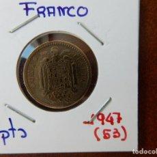 Monedas Franco: MONEDA DE 1 PESETA DE 1947 (*53) - ESTADO ESPAÑOL. Lote 221683382