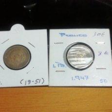Monedas Franco: PESETAS DE 1947 ESTRELLA 51 Y 1947 ESTRELLA 50. MUY ESCASAS. Lote 221838470