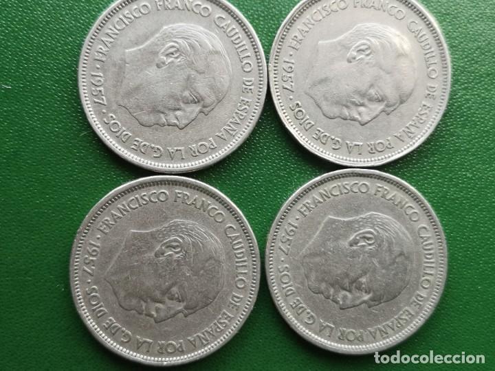 MONEDA 25 PESETAS 1957 ESTRELLA 61 RARA LOTE DE 4 (Numismática - España Modernas y Contemporáneas - Estado Español)