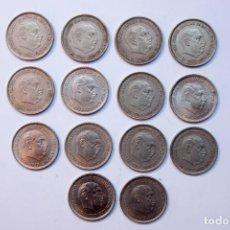 Monnaies Franco: N206.- ESTADO ESPAÑOL. FRANCISCO FRANCO.- LOTE DE 14 MONEDAS DE 25 PESETAS 1957. TODAS DIFERENTES. Lote 225004668