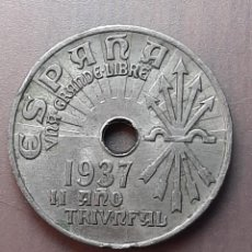 Monedas Franco: 25 CENTIMOS 1937 II AÑO TRIUNFAL ESPAÑA UNA GRANDE LIBRE. Lote 225320755