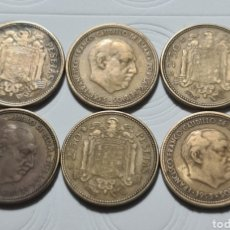 Monedas Franco: LOTE 6 MONEDAS DE 2,50 PESETAS 1953 *54 Y *56. Lote 228005060