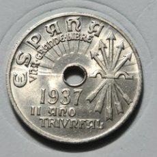 Monedas Franco: 25 CENTIMOS 1937 II AÑO TRIUNFAL SIN CIRCULAR. Lote 228005780