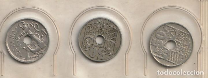 Monedas Franco: Lote 3 monedas de 50 centimos 1949 - Foto 2 - 228086420
