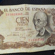 Monedas Franco: BILLETE ANTIGUO DE 100 PESETAS, AÑOS 1970.. Lote 229161680