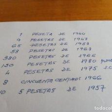 Monedas Franco: 710 MONEDA FRANCO UNA PESETA 1944 1947 1953 1963 1966 MUNDIAL 1980 JUAN CARLOS 1975 5 PESETAS 1957. Lote 231168715