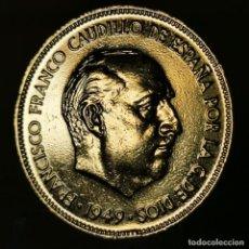 Monnaies Franco: AB011. ORO 24KT. IMPRESCINDIBLE VER DESCRIPCIÓN. 5 PESETAS 1949 *50, VARIANTE 'S0'. Lote 233050455