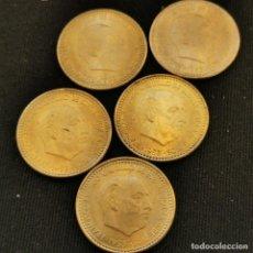 Monete Franco: A18. 5 PIEZAS SIN CIRCULAR DE CARTUCHO!!! 1 PESETA 1953 *56. VER DESCRIPCIÓN. Lote 233466385