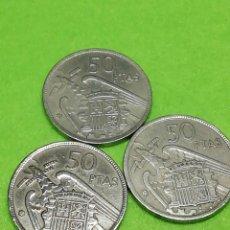 Monedas Franco: LOTE DE 3 MONEDAS DE 50 PESETAS DE 1957 ESTRELLA 67. USADAS.. Lote 234355870