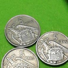 Monedas Franco: LOTE 3 MONEDAS DE 5 PESETAS DE 1957 ESTRELLA 62. USADAS. Lote 234367080