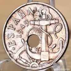 Monedas Franco: *AB171. ERROR DOBLE . 50 CÉNTIMOS 1949 *53. AGUJERO DESPLAZADO, Y HOJA. Lote 235220120