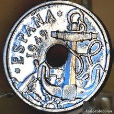 Monedas Franco: AB172. ERROR Y BAÑO PLATA 999. 50 CÉNTIMOS 1949 *56. LIGERAMENTE SEGMENTADA. Lote 235220845