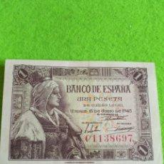 Monedas Franco: UNA PESETA DE 1945 ISABEL LA CATÓLICA. SIN CIRCULAR.. Lote 239812440