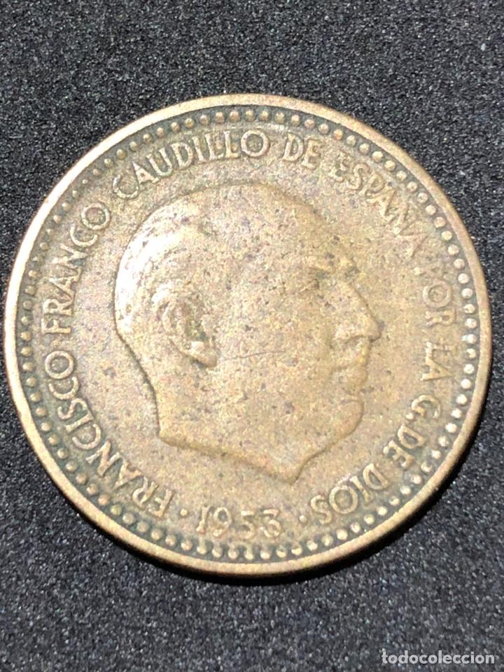 MONEDA DE 1 PESETA DE 1953 CON ESTRELLA DEL 62. (Numismática - España Modernas y Contemporáneas - Estado Español)