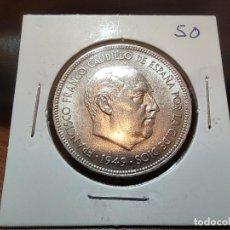 Monedas Franco: 5 PESETAS FRANCO 1949 *50 SIN CIRCULAR EXTRAÍDA DE CARTUCHO. Lote 243448640