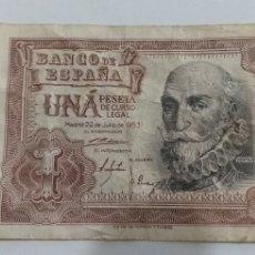 Monedas Franco: BILLETE DE UNA PESETA 1953 ESPAÑA. Lote 244427765