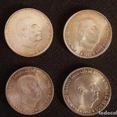 Monedas Franco: 4 MONEDAS DE 100 PESETAS DE PLATA DE 1966 *66 *67 *68 *70 EN MUY BUEN ESTADO.. Lote 244597015