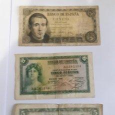 Monedas Franco: 3 BILLETES DE 5 PESETAS DE 1935/1951/1954. Lote 252094480