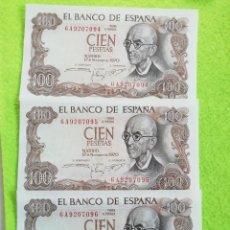 Monete Franco: 3 BILLETES DE 100 PESETAS CORRELATIVOS DE 1970 SIN CIRCULAR. SERIE 6A9207094/95/96. Lote 252524760