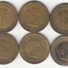 Monedas Franco: FRANCO: LOTE 6 MONEDAS 1 PESETA 1953 ESTRELLAS VISIBLES 54-56-60-61-62-63. Lote 246246315