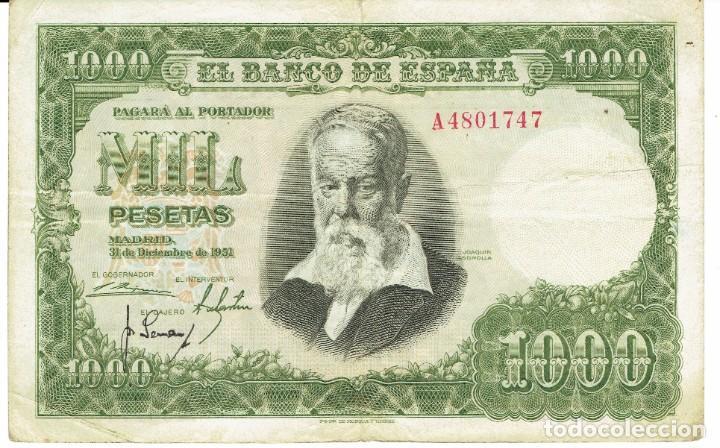 1000 MIL PESETAS MADRID 31 DE DICIEMBRE DE 1951 (Numismática - España Modernas y Contemporáneas - Estado Español)