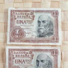 Monedas Franco: LOTE 2 BILLETES 1 PTA. Lote 253960660