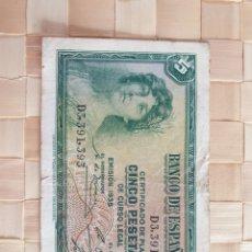 Monedas Franco: BILLETE 5 PTAS. REPÚBLICA.. Lote 253961020