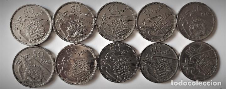 LOTE 10 MONEDAS 50 PESETAS FRANCO 1957 ESTRELLAS 60 - BIEN CONSERVADAS (Numismática - España Modernas y Contemporáneas - Estado Español)