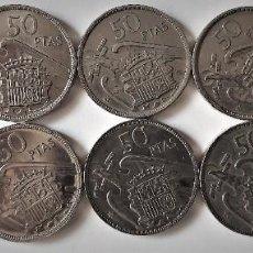 Monedas Franco: LOTE 10 MONEDAS 50 PESETAS FRANCO 1957 ESTRELLAS 60 - BIEN CONSERVADAS. Lote 254448295