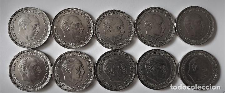 Monedas Franco: LOTE 10 MONEDAS 50 PESETAS FRANCO 1957 ESTRELLAS 60 - BIEN CONSERVADAS - Foto 2 - 254448295