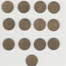 Monedas Franco: LOTE DE 13 MONEDAS DE 1 PESETA DE 1944-EBC-SC-. Lote 254670225