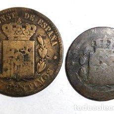 Monedas Franco: PCOIN ESPANA 1879 10 5 CENTIMOS ALFONSO LOTE 2 MONEDAS. Lote 255284710