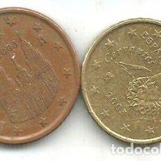 Monedas Franco: M 9206 ESPANA EURO LOTE 2 MONEDAS 510 CENTAVOS 2003. Lote 255285745