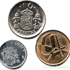Monedas Franco: ESPANA LOTE 3 MONEDAS 1 5 Y 10 PTAS 1992 M052. Lote 255291115
