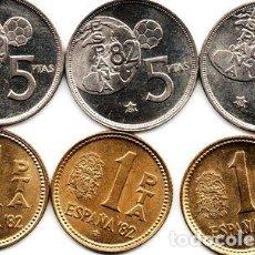 Monedas Franco: ESPANA LOTE 6X 1 Y 5 PTAS 1980 MUNDIAL 82 80A82 M038. Lote 255291565