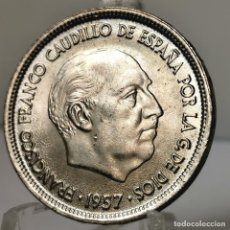 Monedas Franco: ⚜️ 25 PESETAS 1957 *69. EBC++. HOJAS EN BUSTO. AC388. Lote 257545150