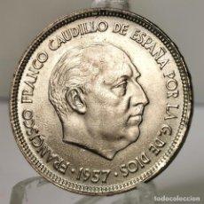 Monedas Franco: ⚜️ 25 PESETAS 1957 *66. EBC+ / SIN CIRCULAR MENOS. MARCAS DE EMPAQUETADORA. AC377. Lote 257546555