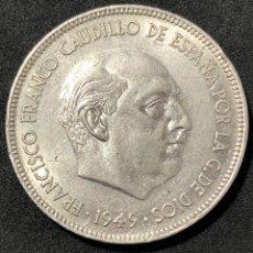 Monedas Franco: 5 PESETAS DE 1949 ESTRELLA DEL 50. EBC. DURO CABEZON. Lote 259036925