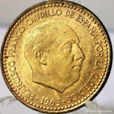 Monedas Franco: ⚜️ 1 PESETA 1963 *66. SIN CIRCULAR. ERROR. REPINTE DE ESCUDO EN ANVERSO. AC558. Lote 260771395