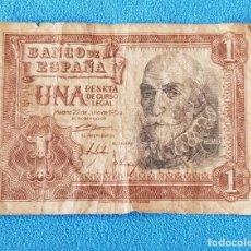 Monedas Franco: 14- ANTIGUO BILLETE DE 1 PESETA - MARQUÉS DE SANTA CRUZ - JUNIO 1956. Lote 261997905