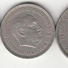 Monedas Franco: SERIE BA ( BARCELONA ) 5 - 25 - 50 PESETAS 1957 / I EXPO. IBEROAMERICANA NUMISMATICA - MBC +. Lote 262779770